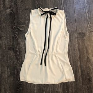 Tops - Eggshell White blouse with black tie at neck